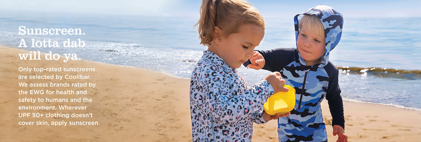 Sunscreen. A lotta dab will do ya. Only top-rated sunscreens are selected by Coolibar. We assess brands rated by the EWG for health and safety to humans and the environment. Wherever UPF 50+ clothing doesn't cover skin, apply sunscreen.