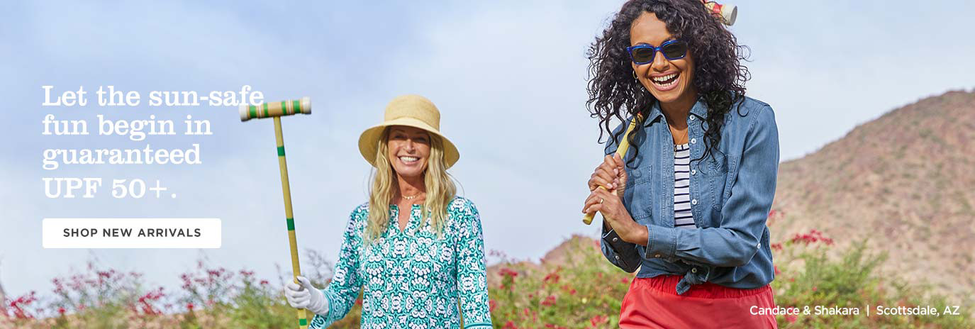 Let the sun-safe fun begin in guaranteed UPF 50+ - Shop Women - New Arrivals