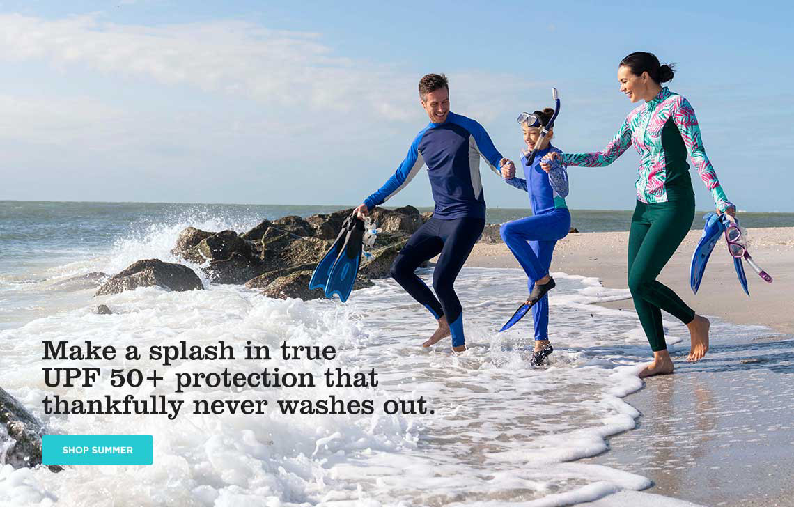 Make a splash in true UPF50+ protection that thankfully never washes out