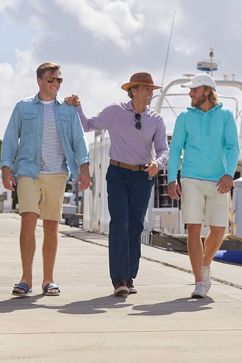 Mens Relaxing - men walking at marina