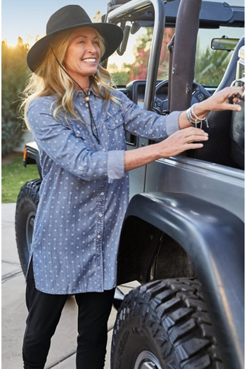 Womens Relaxing - woman getting in Jeep