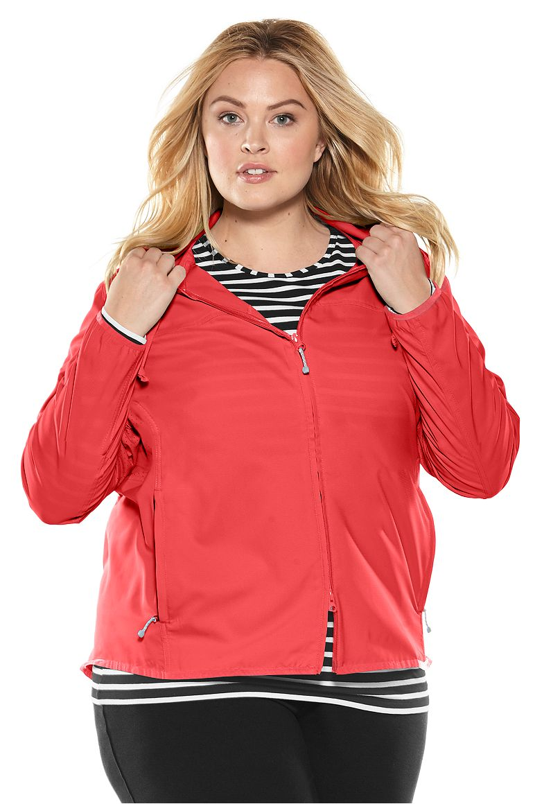 Packable Sunblock Jacket Vivid Coral 3X Solid