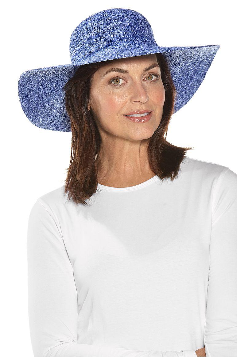Packable Wide Brim Hat Empire Blue OS Hat Space Dye