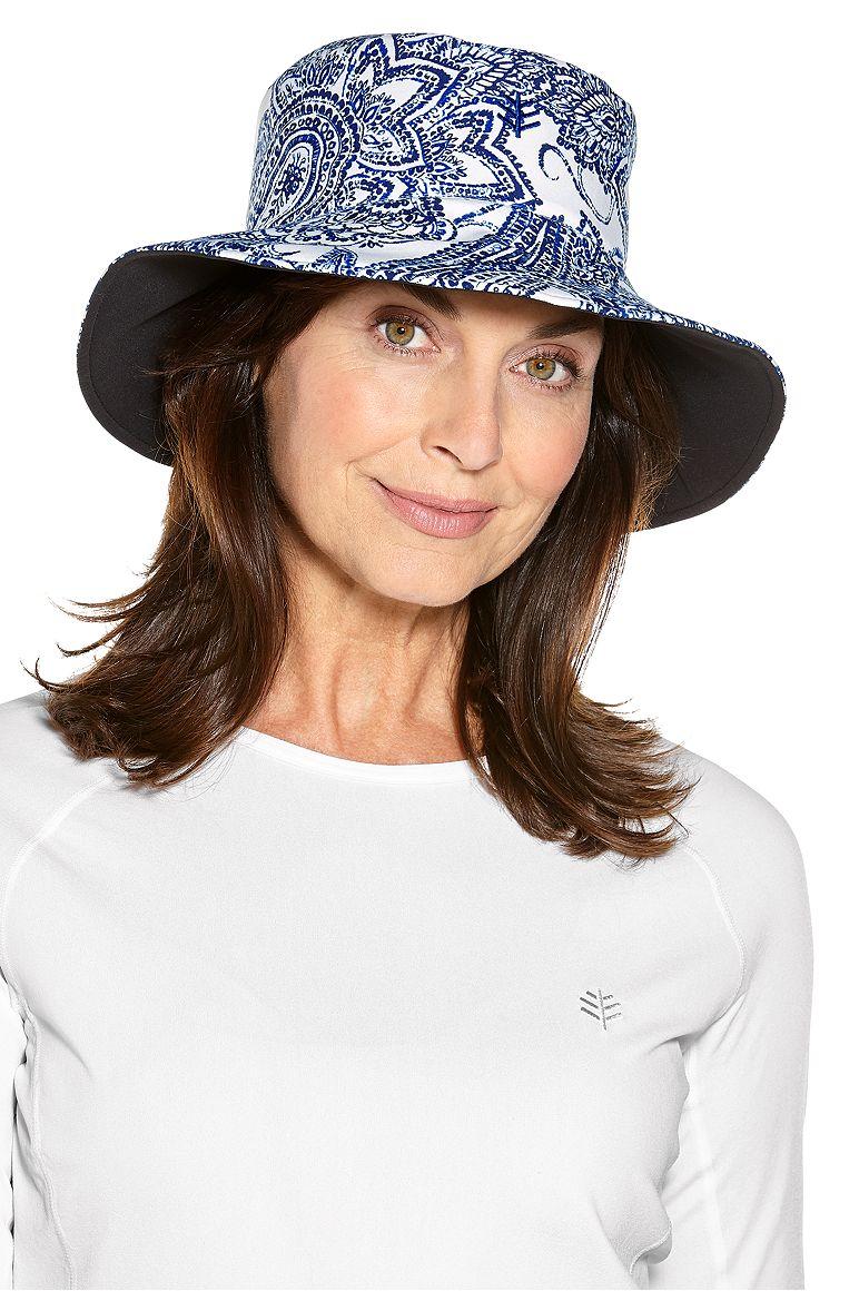 Reversible Pool Hat Blue OS Ornate Paisley