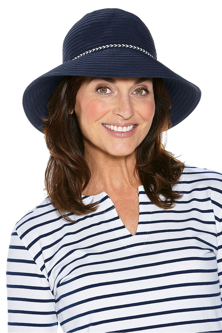 Audrey Ribbon Bucket Hat Navy OS Roll Up With Snap