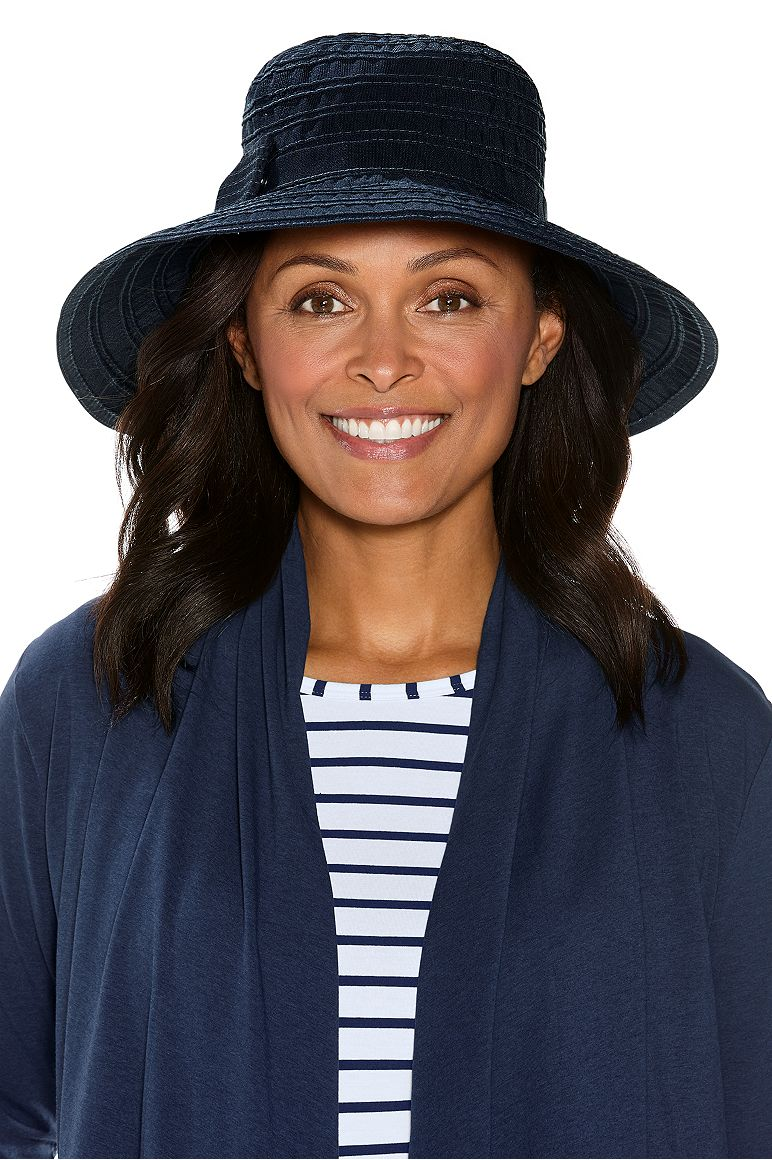 Ingrid Ribbon Hat Navy OS Roll Up With Snap
