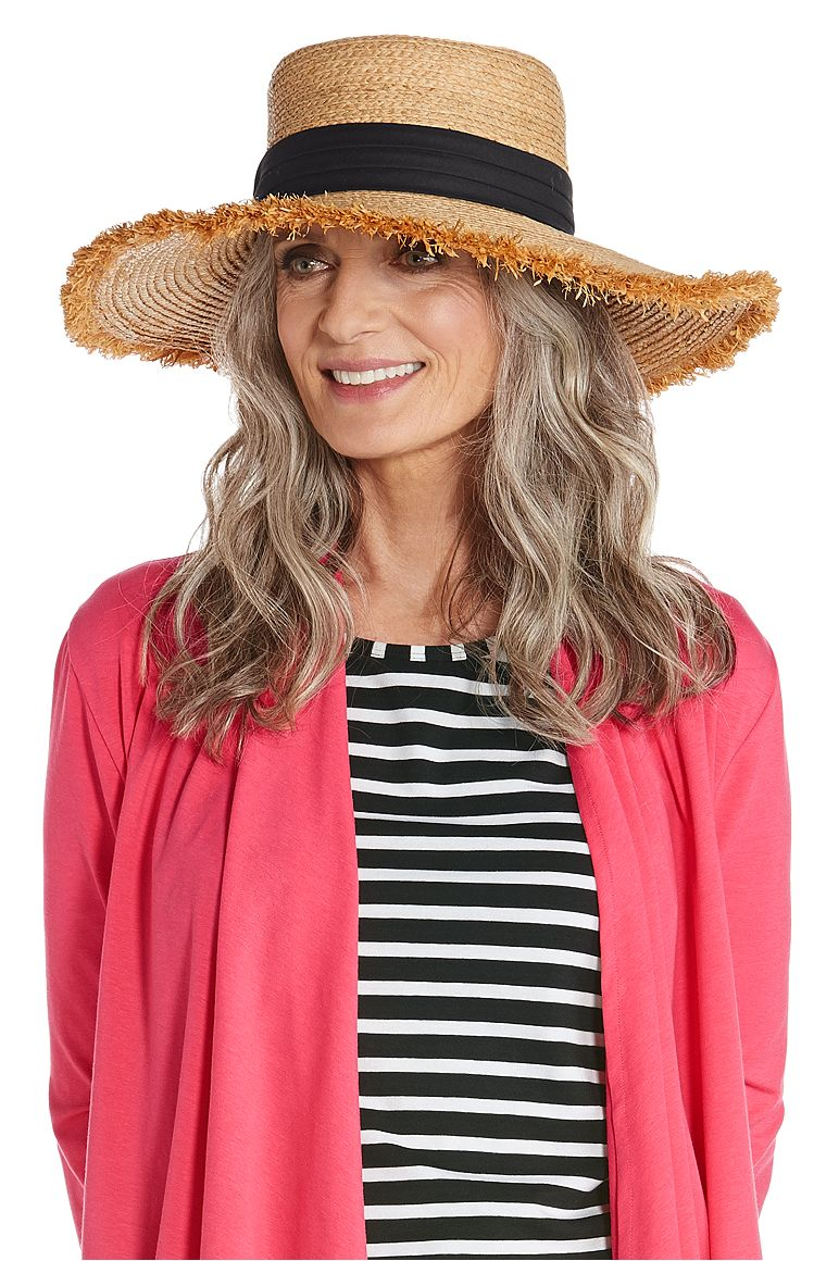 Women's Straw Boater Hat UPF 50+