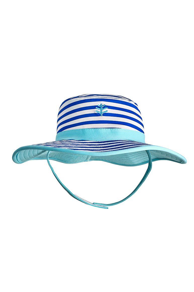 Reversible Beach Bucket Hat Baja Blue/White 2T-3T Stripe - 7mm X 6mm