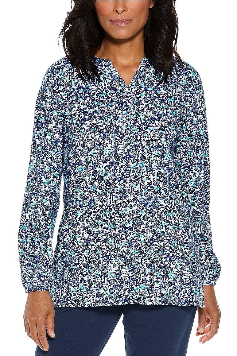 Carolina Tunic Top Blue 3X Garden Floral