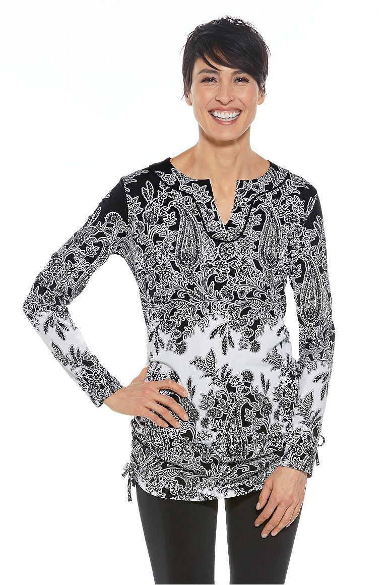 Havens Beach Swim Cover-Up Black 3X Placed Paisley Print