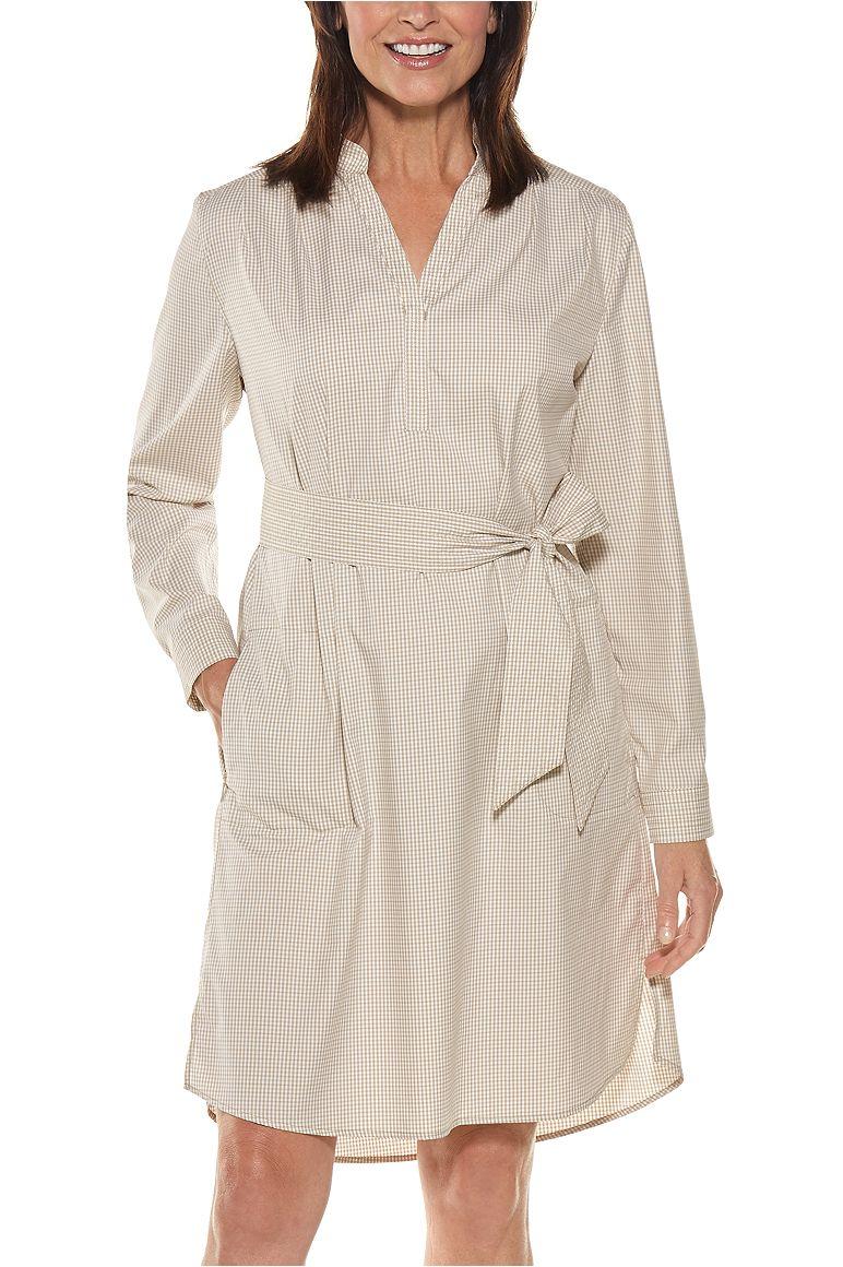 a740be48 Women's Oxford Shirt Dress UPF 50+ Oxford Shirt Dress Light Taupe XXL  Gingham