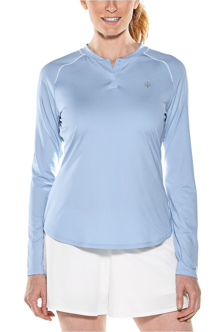 Women's Long Sleeve Match Point Henley UPF 50+