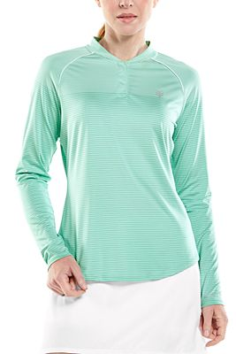 Women's Match Point Long Sleeve Henley UPF 50+