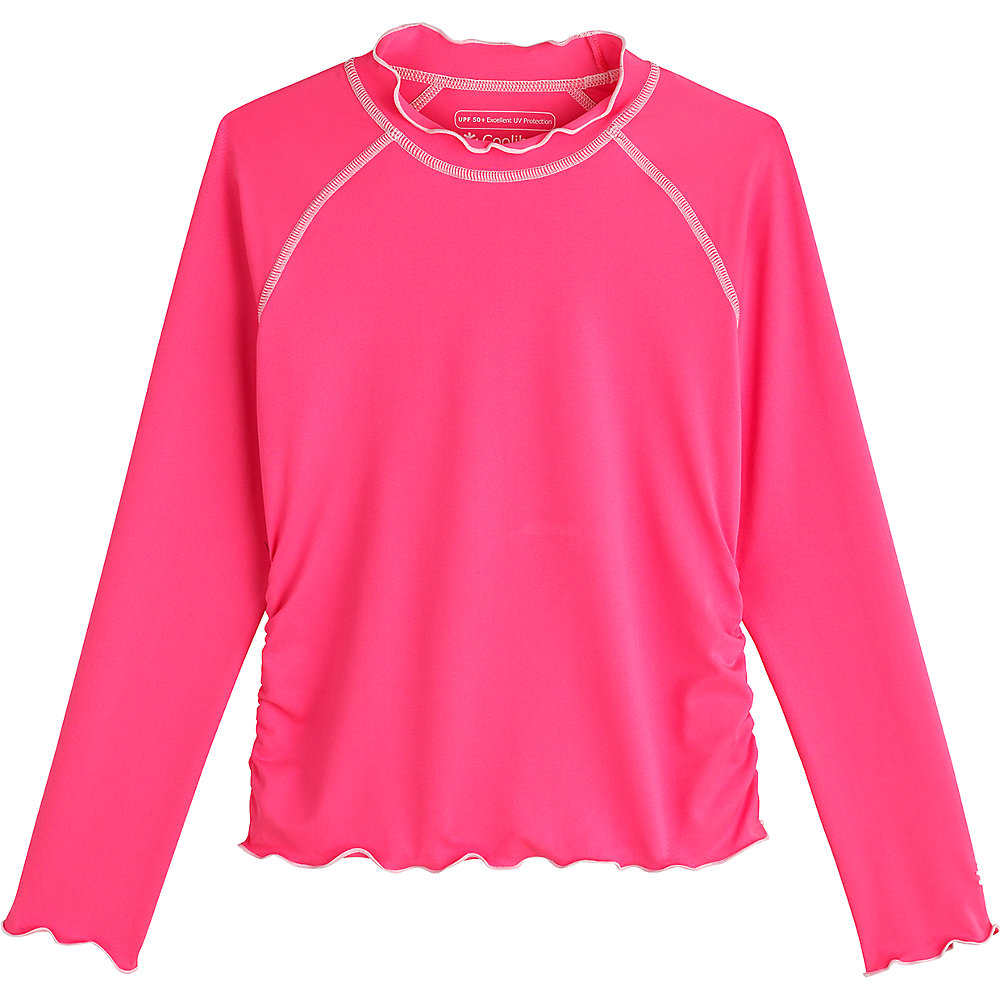 c6df91b4aef48 Coolibar UPF 50 Girl's Ruffle Rash Guard Large Aloha Pink. About this  product. Picture 1 of 2; Picture 2 of 2