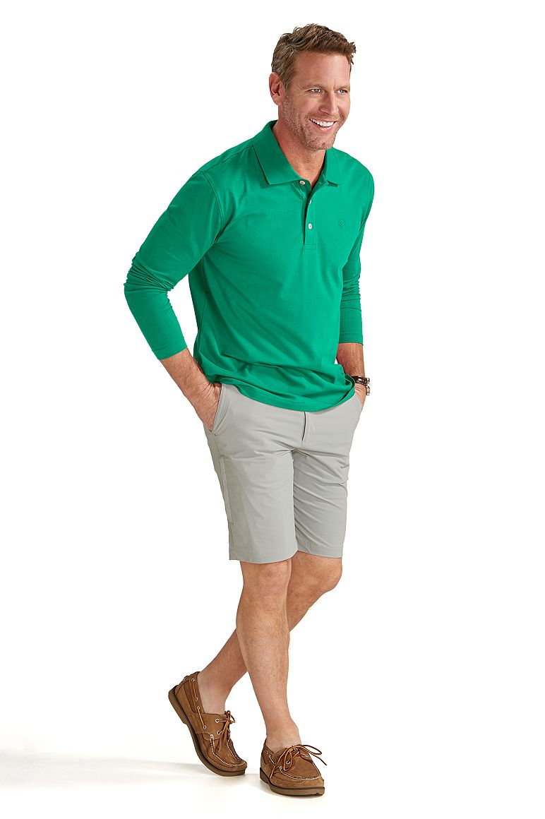 Long Sleeve Polo Shirt & Casual Short Outfit