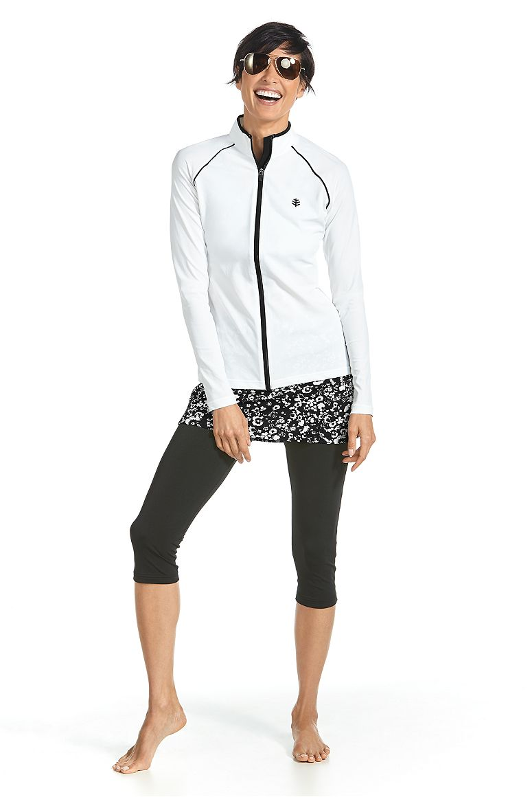 Long Sleeve Water Jacket & Skirted Swim Capris Outfit