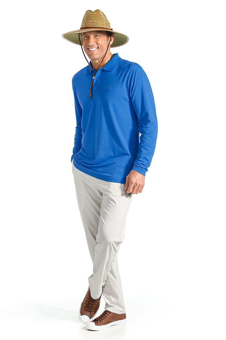 Straw Beach Hat & Long Sleeve Polo Shirt Outfit