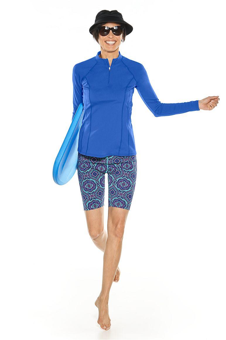Long Sleeve Rash Guard & Swim Shorts Outfit