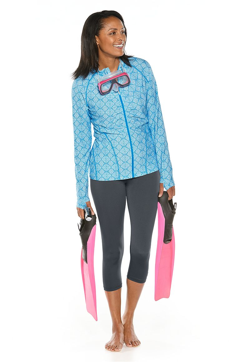 Ruched Swim Jacket & Swim Capris Outfit