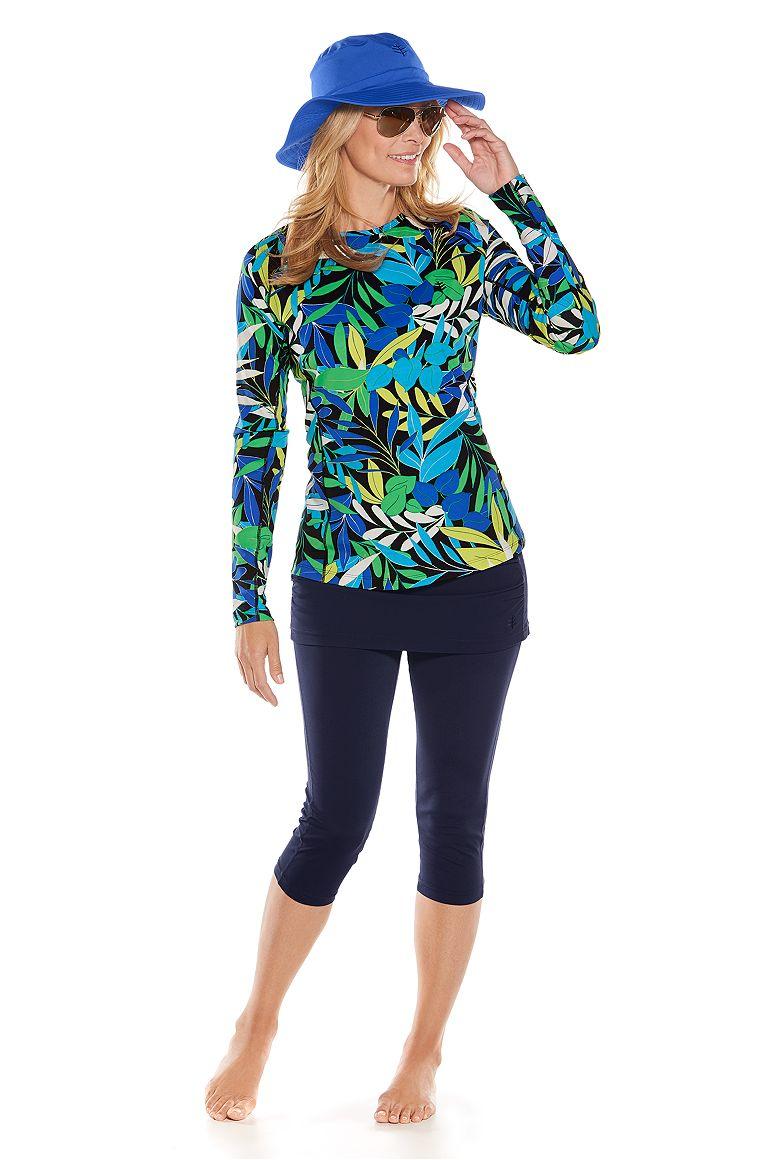 Long Sleeve Swim Shirt & Skirted Swim Capris Outfit
