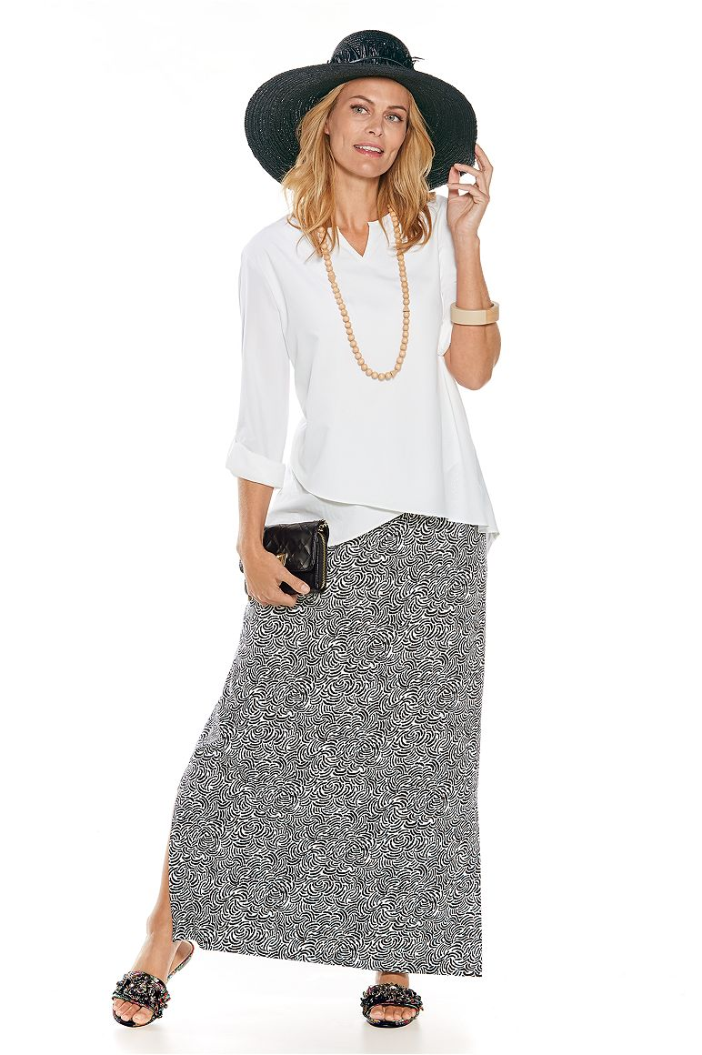 Garden Party Tunic Top & Maxi Skirt Outfit