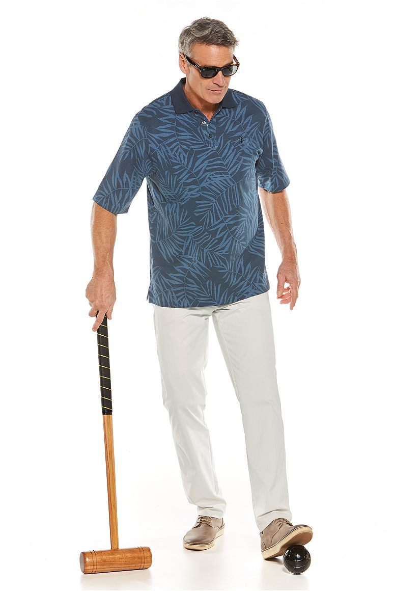 Short Sleeve Polo Shirt & Casual Pants Outfit