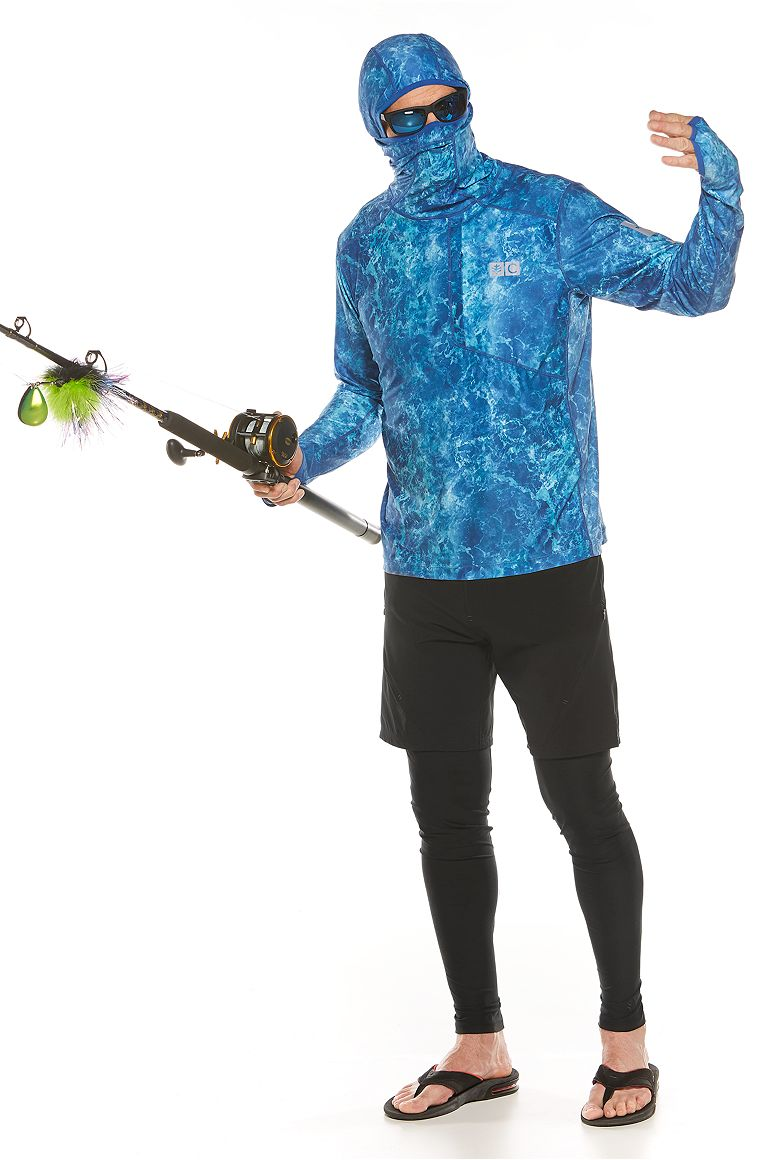 Fishing Tee Hoodie & Tech Swim Trunks Outfit