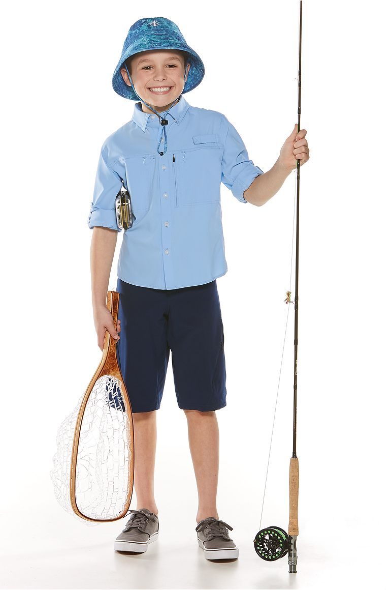 Kid's Fishing Shirt and Tech Swim Trunk Outfit