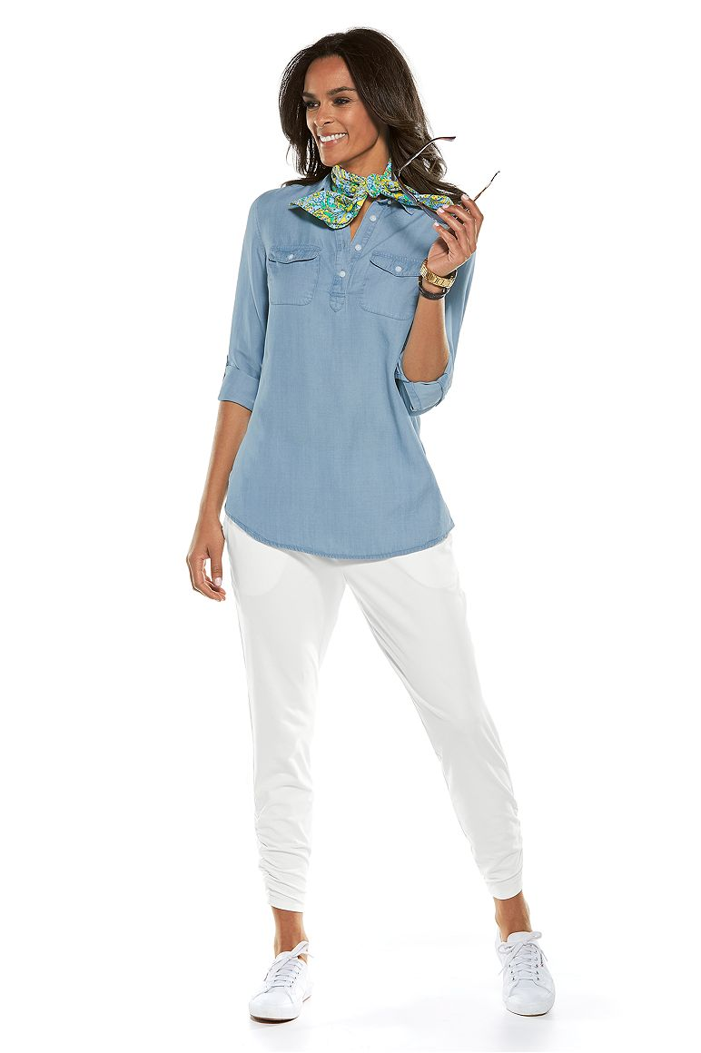 Chambray Tunic Top & Ruched Pants Outfit