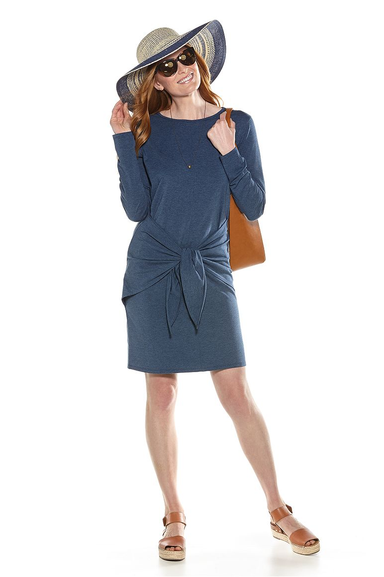 Meadow Lane Straw Hat & Tie-Front Dress Outfit