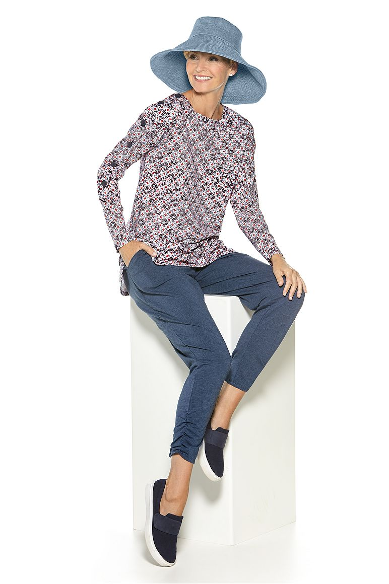 Breakwater Tunic Top & Ruched Pants Outfit