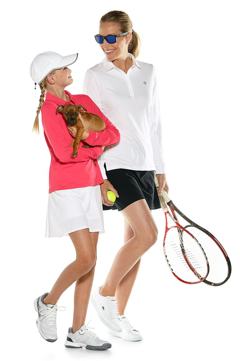 Women's & Girls L/S Fitness Polo & Grand Slam Tennis Skort Outfit