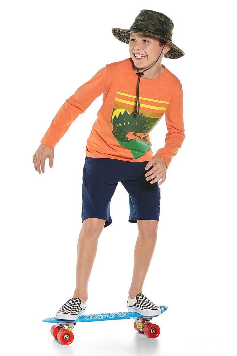 Boy's L/S Graphic T-Shirt & Tech Swim Trunks Outfit