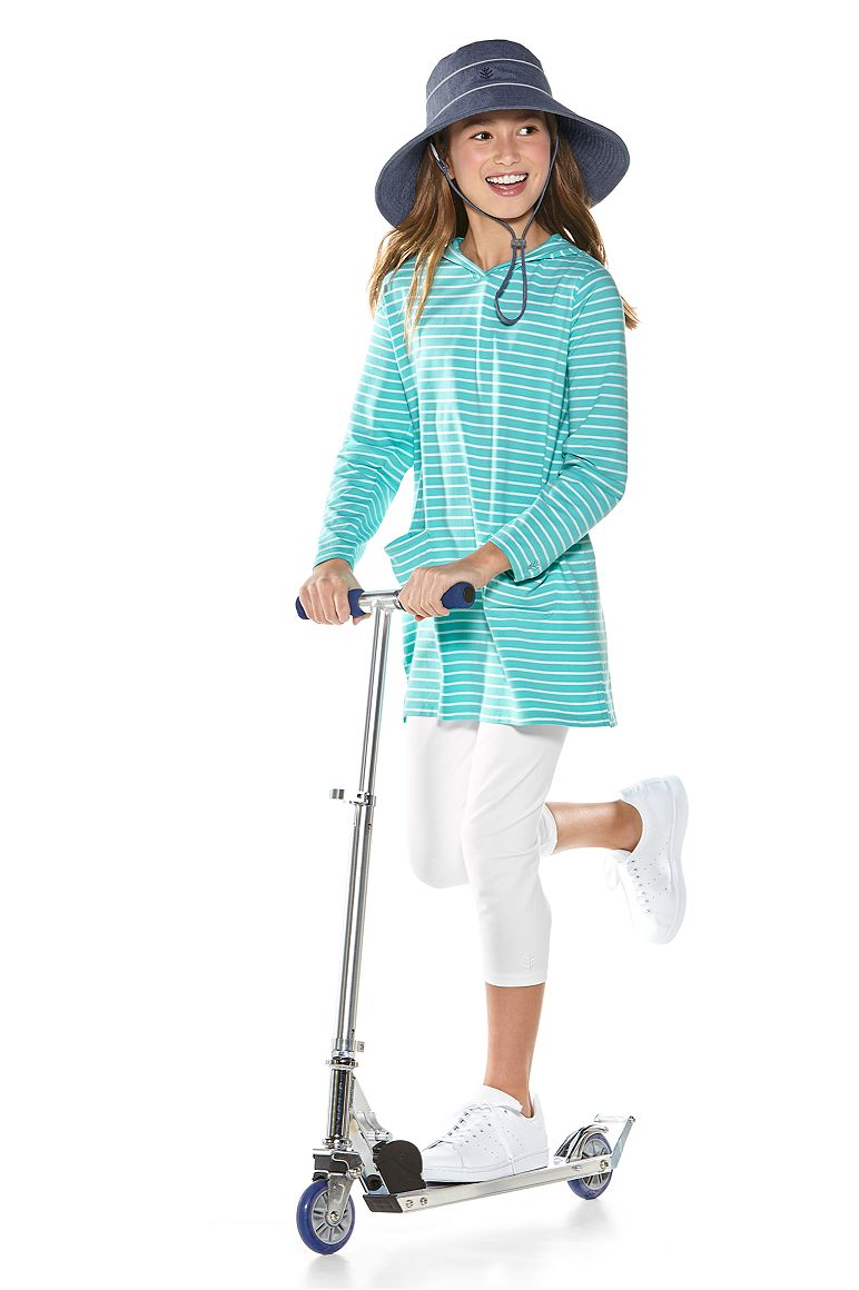 Girl's Beach Cover-Up Dress Outfit & Summer Capris Outfit