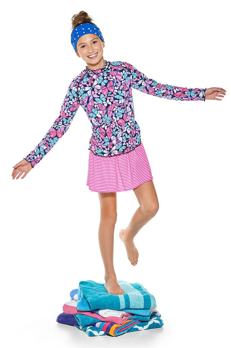 Girl's Ruffle Rash Guard & Wave Swim Skirt Outfit