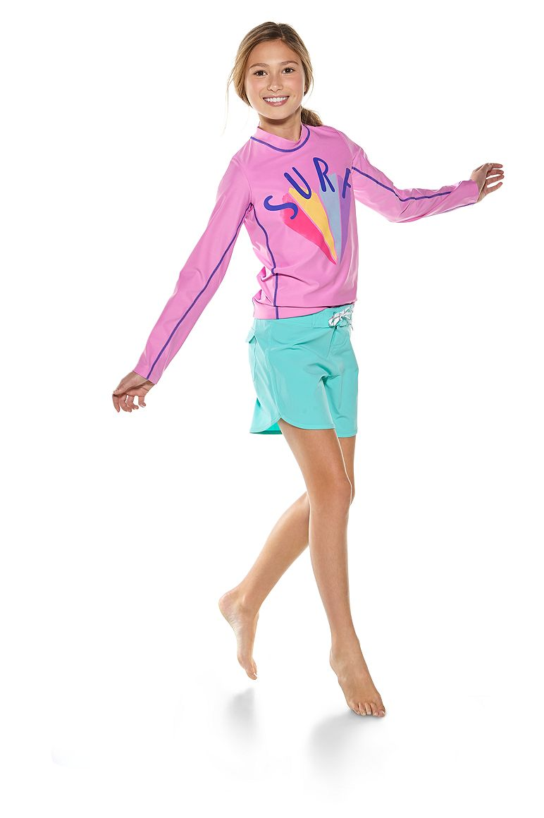 Girl's L/S Surf Rash Guard & Surf Boardshorts Outfit
