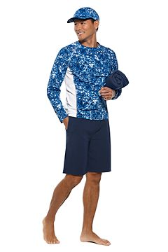 Men's L/S Hightide Swim Shirt & Men's Newport Saturday Lounge Shorts Outfit