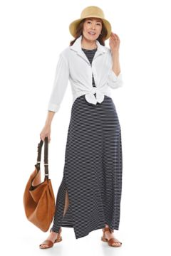Rhodes Shirt & Dounelle Maxi Dress Outfit in Look we love shot
