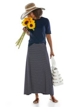 Morada Everyday Short Sleeve T-Shirt & Fabyan Maxi Skirt Outfit in Look we love shot