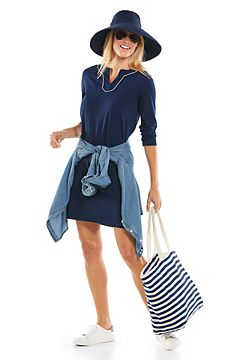 Oceanview Tunic Dress & Cyd Travel Beach Hat Outfit