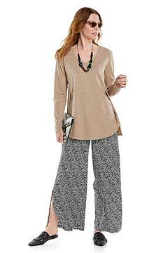 Kera V-Neck Tunic Top & Petra Wide Leg Pants Outfit
