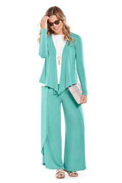 Vrae Everyday Fashion Wrap & Lynsu Wide Leg Pants Outfit in Look we love shot