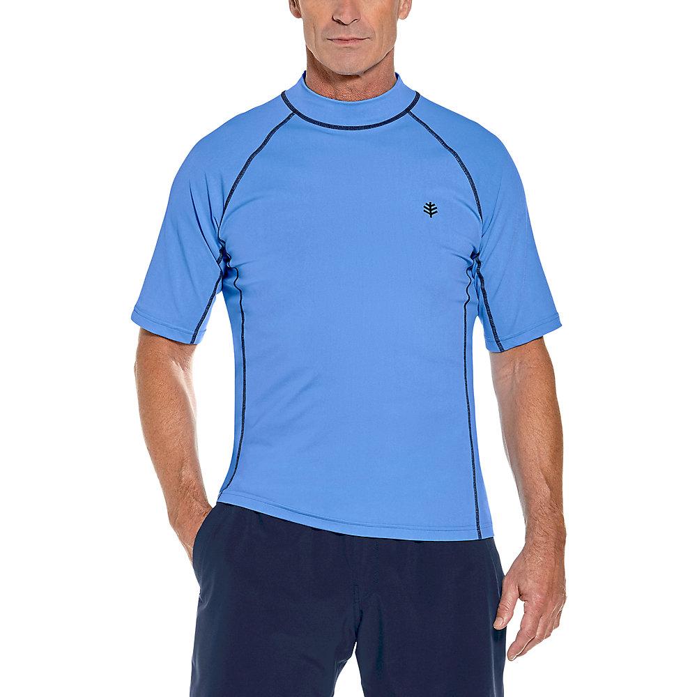 Short Sleeve Swimming Rash Vest BNWOT Boys Sz 6 to 8 Black and Aqua UPF 50